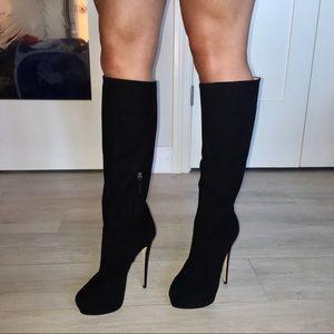 Siya Black Suede AUTHENTIC Knee High Boot Heels 🖤